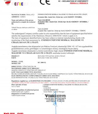 Refleks DC 2000 SL Tube Decapper CE Certificate