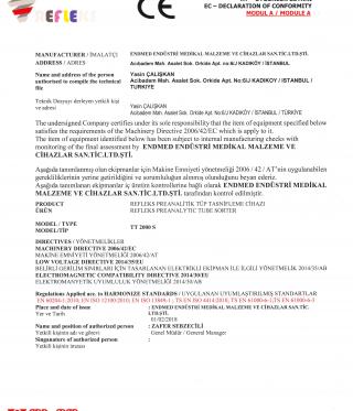 Refleks TT 2000 S Tube Sorter Domestic Product Certificate